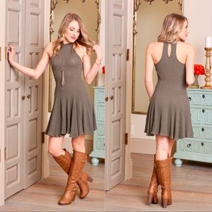 """Sal"" Olive Ribbed Halter Dress"